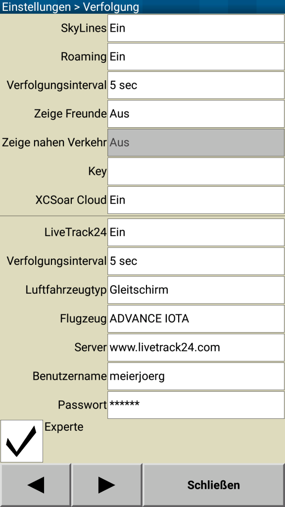 XCSoar Livetracking Accountdaten eingeben
